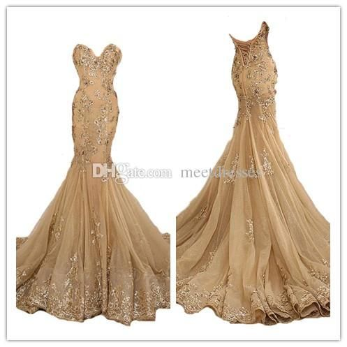 2017 Gold Prom Dresses Mermaid New Style Tulle Lace Appliques Prom Dress Long Evening Gowns For Teens Party Prom Dress Sewing Patterns Prom Dress Shops In Essex From Meetdresses, $167.83  Dhgate.Com