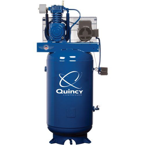 U.S.A. Amps: 28, Tank Type: Vertical, Air Outlet Size (in.): 3/4 ball valve, After-Cooler Included: No, Pump Life (hrs.): 50,000+, Pump: Cast iron, Dimensions L x W x H (in.): 37 x 24 x 74, Package Type: Standard, Volts: 230, CFM at 90 PSI: 18.6, Working Pressure (PSI): 145-175, Air Tank Size (gal.): 80, Max. PSI: 175, Drain System: Manual, HP: 5, CFM at 100 PSI: 17.7, CFM at 175 PSI: 17.2, Motor Phase(s): Single, Drive: Belt, Portable or Stationary: Stationary, Duty Cycle: 100%, Stage: 2