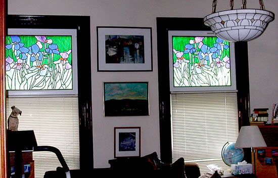 Matching Van Gogh-inspired panels for a home in Boston. Original design by Kelly Haggard Olson. All Rights Reserved.