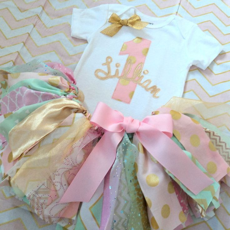 First Birthday Party In A Box In Gold Mint And Pink: Baby Girls 1st Birthday Outfit, Pink Mint Gold Fabric Tutu