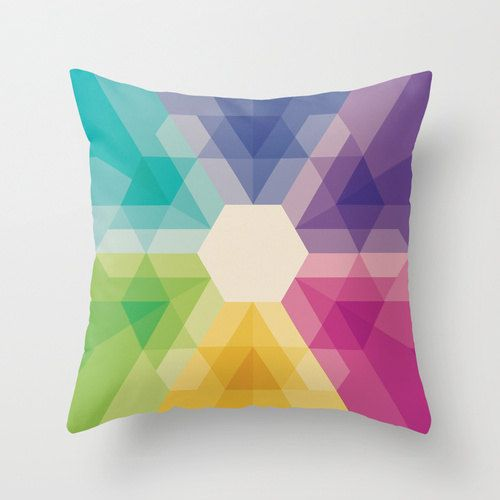 16x16 Colorful Geometric Throw Pillow Fig 021 by iamchristinabot, $20.00