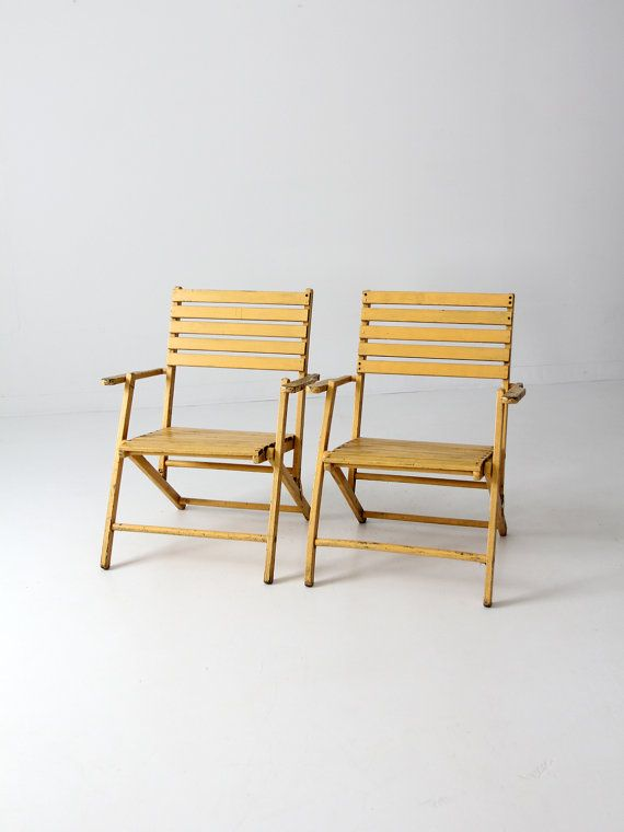 Vintage Slat Wood Folding Chairs Pair Yellow Outdoor By