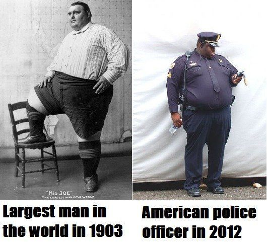 insane. evolution of obesity.Police Offices, Laugh, Funny Pics, Food Chains, Funny Pictures, Junk Food, Funny Photos, Fast Food, Hilarious Photos