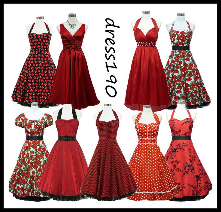dress190 Red 50s Rockabilly Vintage Pinup Party Prom Cocktail Dress UK 8-26 #dress190 #50sRockabilly #Party