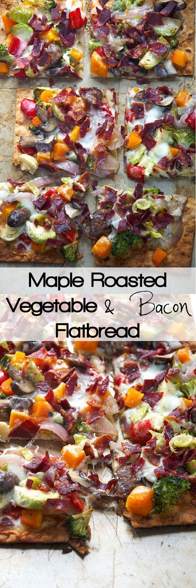 Thin and crispy lavash is used as the base for this flatbread, and topped with autumn, maple roasted veggies and topped with bacon and creamy fontina for flatbread that will please anyone!