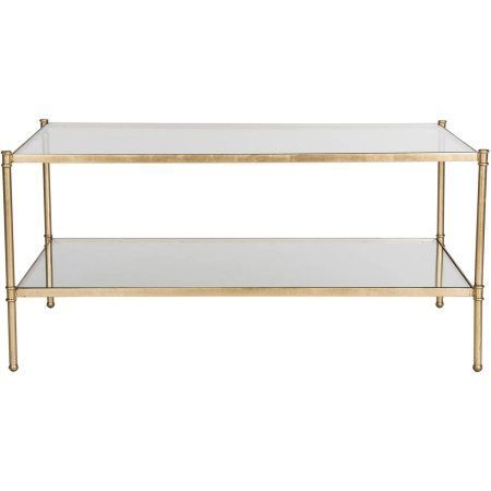 Safavieh Aslan 42 inch Width Iron Coffee Table, Antique Gold w/ Glass Top, Clear