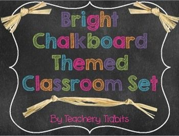 $10 Bright Chalkboard Themed Classroom Set