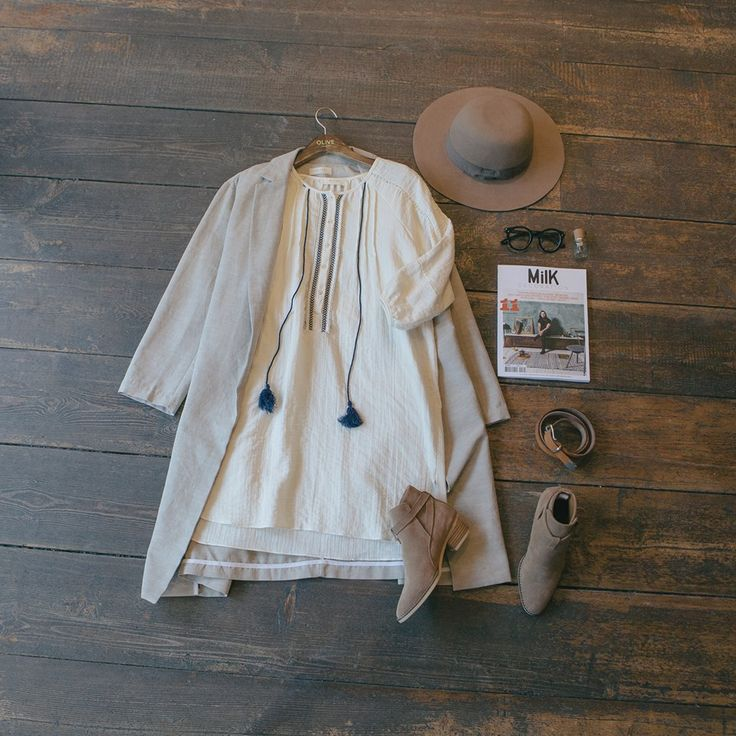 Bohemian tape detail dress, linen belted summer coat & brixton count hat: Free worldwide shipping for orders over £75... www.oliveclothing.com/new