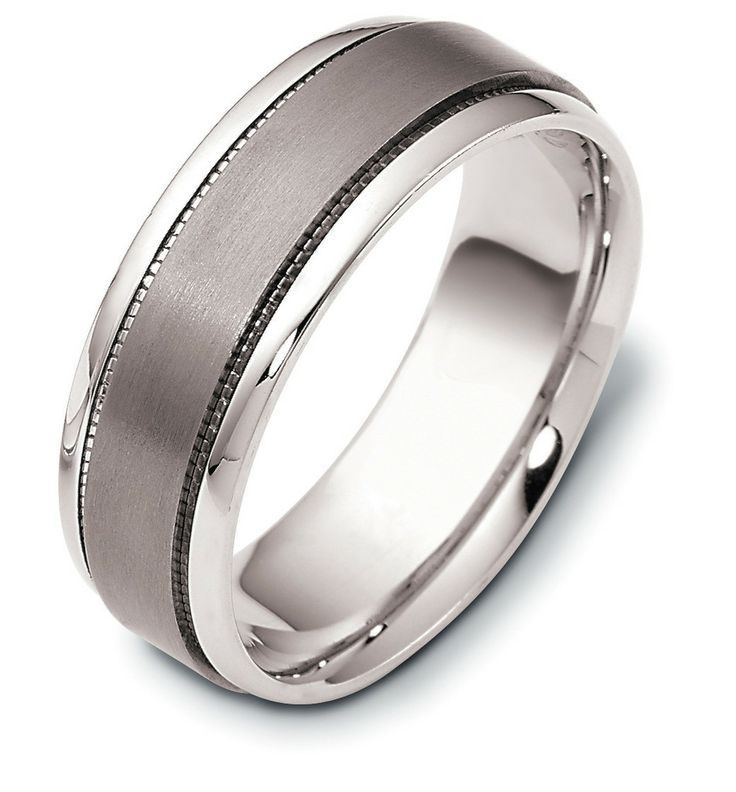 Angara Milgrain Sided Mid-Weight Comfort Fit Mens Wedding Band in White Gold bzRilKbzB