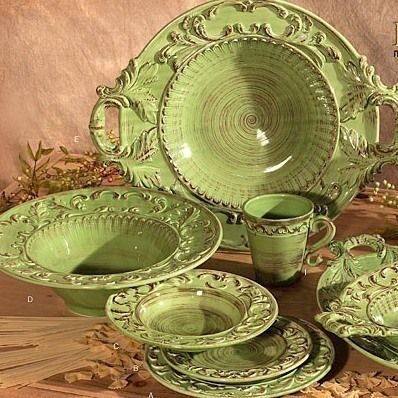 Handmade Italian Ceramic Green TUSCAN Horchow 16pc DINNERWARE SET BAROQUE DESIGN on eBay!