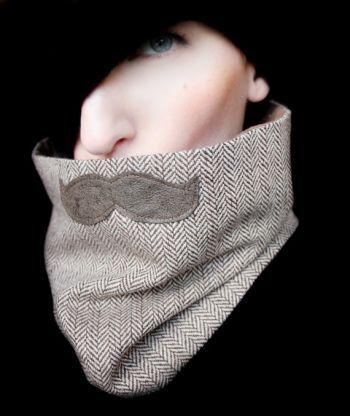 NB Mustache Scarf Cowl - Movember History Professor Neckwarmer