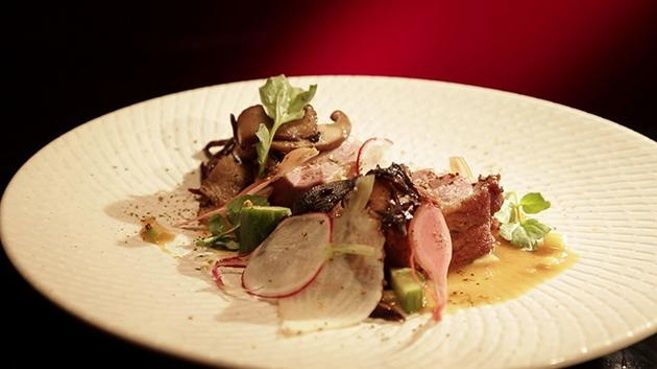 Pan Seared Duck Breast with Turnips, Apple and Miso