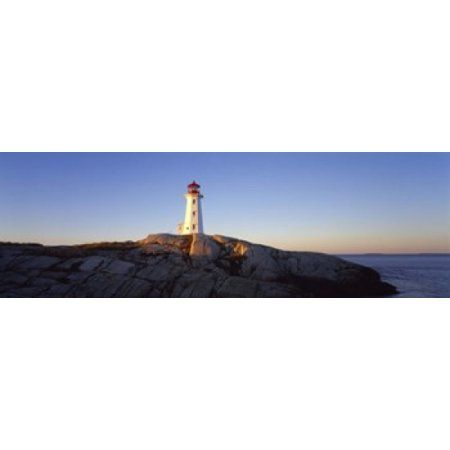 Lighthouse at the coast Peggys Point Lighthouse Peggys Cove Halifax Regional Municipality Nova Scotia Canada Canvas Art - Panoramic Images (18 x 6)