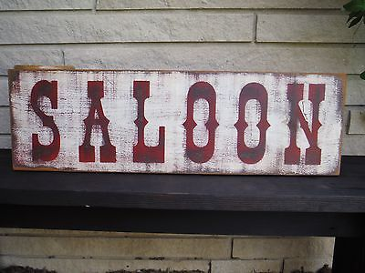 "30"" SALOON Old Wood Sign Vintage Rustic Primitive western bar advertisement"