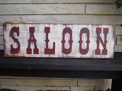 "30"" SALOON Old Wood Sign Vintage Rustic Primitive western bar advertisement"