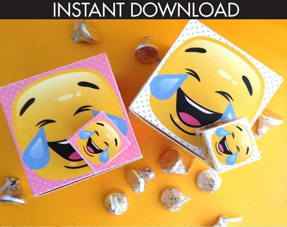 Emoji Box - Emoji Party Favor Box, Cupcake Box, Emoji Birthday - Instant Download DIY Printable PDF Kit  $7.99