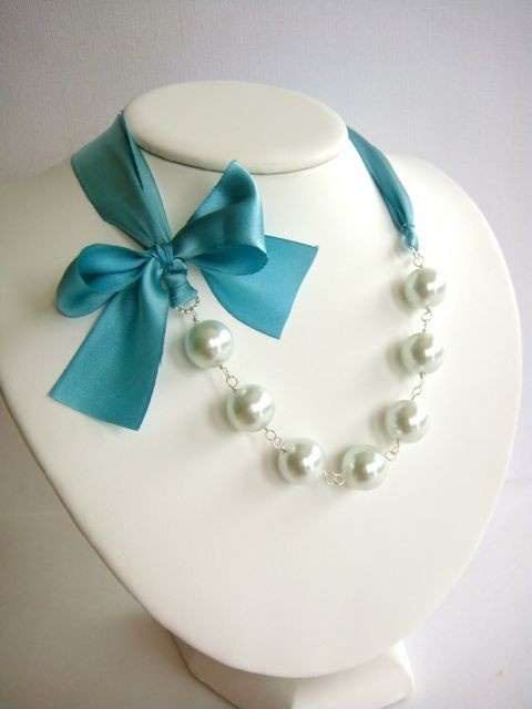 Silk Ribbon & Pearl Necklace....I have this with a pink ribbon. Love it.