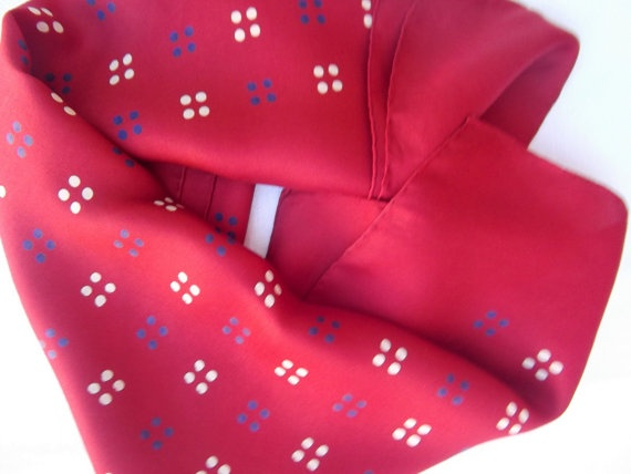 Vintage scarf red with navy and white flowers by CHEZELVIRE, $11.00