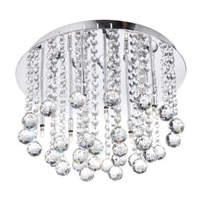 Litecraft Polished Chrome Melanie Flush Crystal Ceiling Light- | Debenhams