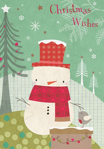SNOWMAN WITH RED SCARF Holiday - Boxed cards by Hilary Yafai - Rafale for Carte by Calypso Cards Inside Greeting: Enjoy the season Price: $15.00