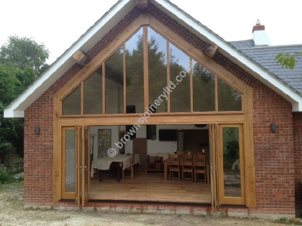 Sliding Timber Garden Doors in Oak or painted wood www.brownsjoineryltd.co.uk