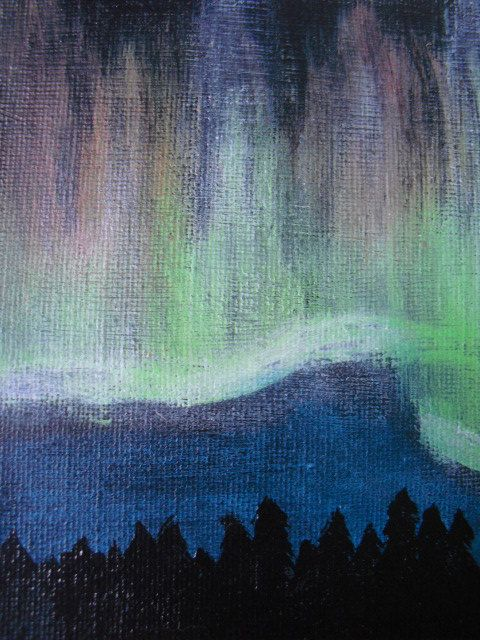 3. Northern lightning acrylic painting on 6x6 canvas. by JenTaArt