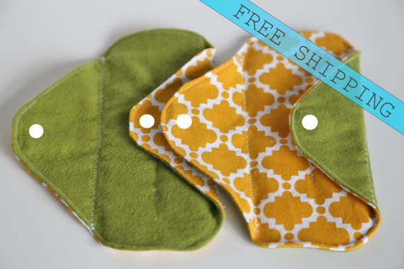 Set of 2 6 Panty Liners Flannel Cloth Pad Mama Pad by MamaMelonCA
