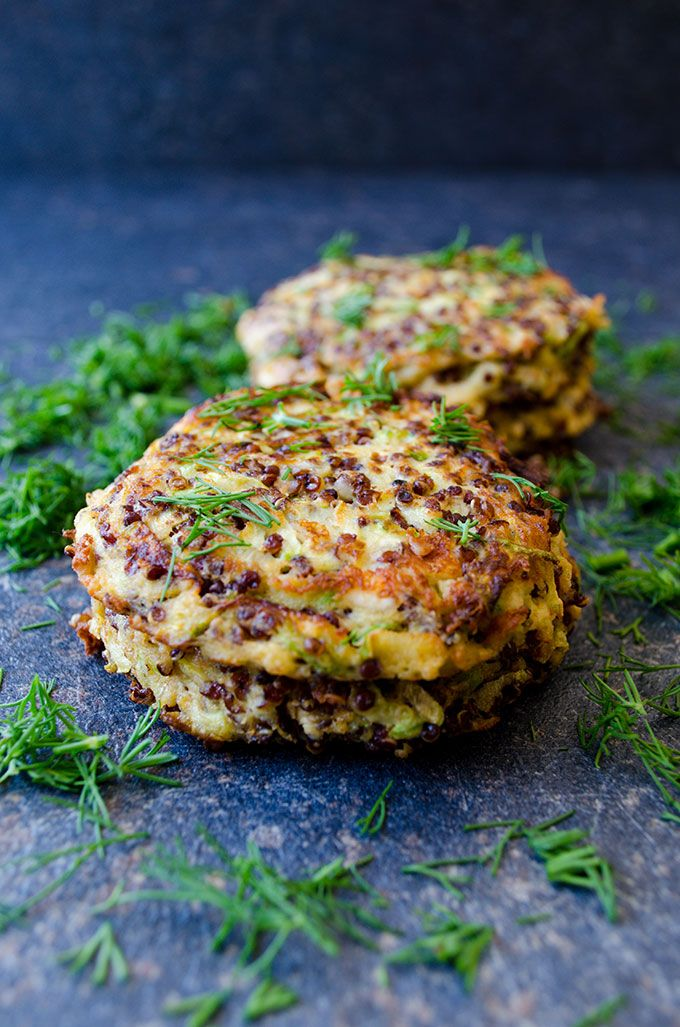 Feta Quinoa Zucchini Fritters are crispy on the outside and moist in the center. These fritters are very light thanks to quinoa. No flour is added! | giverecipe.com | #fritters #quinoa #zucchini #snack #sidedish #vegetarian #glutenfree #redquinoa