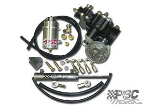 The PSC Hydraulic Cylinder Assist Steering Kit provides pure power, yet has excellent handling characteristics on the trails. Manufactured with all new parts, tested tough on the trails producing the proper valving ratios needed for todays extreme conditions. Kit includes steering gear, resevior, pump and cylinder kit along with all mounting hardware and hoses required. System requires use of fluid coolers for proper heat displacement and to keep from damaging pump.