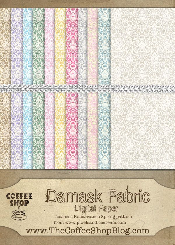 CoffeeShop Free Damask Fabric Digital Paper! Click on link for free printables. http://www.thecoffeeshopblog.com/2011/12/coffeeshop-damask-fabric-digital-paper.html
