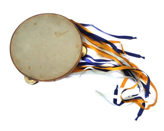 1950s Salvation Army Tambourine with Wooden Frame Ribbons and Metal Cymbals Vintage Tambourine Antique Tambourine Vintage Musical Instrument