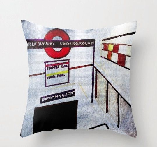 London Pillow (Notting Hill Gate tube station) Available at : Http://www.Etsy.com/shop/LeonLionStudio