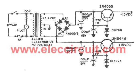 Dual 15v Power Supply Schematic With Pcb 15v 15v 1a Eleccircuit Power Supply Circuit Power Supply Power
