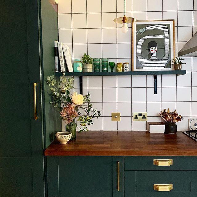 Green Kitchen Cabinets Gold Hardware