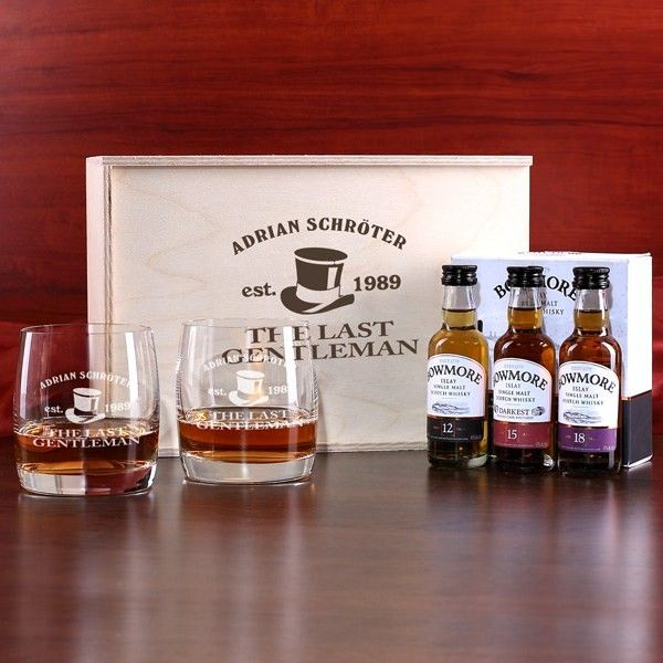 Bowmore Whisky Geschenkbox Last Gentleman mit gravierten Whiskygläsern