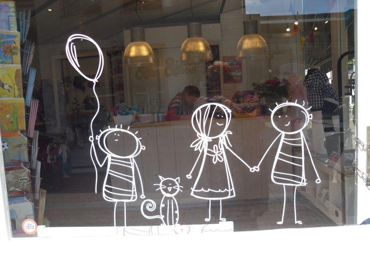 Schilderen op raam kinderen