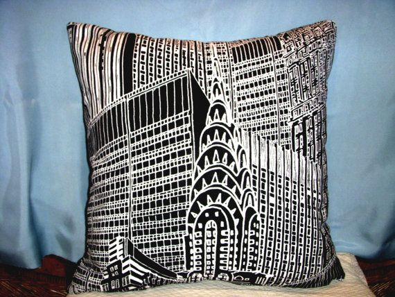 New York City Pillow NYC Chrysler Building by SewVintageSewRetro, $40.00