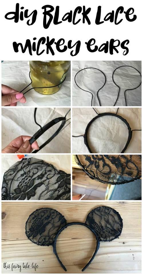 Make these pretty minimalist black lace Mickey ears for your next trip to Disney! #mickeyears #diy #disneydiy