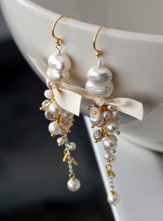 So pretty...Long pearl earrings with vermeil and sterling by SirpaKJewelry
