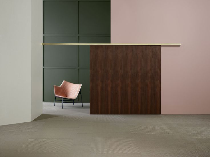 Bolon Material Interventions | Yellowtrace midcentury modern pink green wood brown yellow white grey office interior