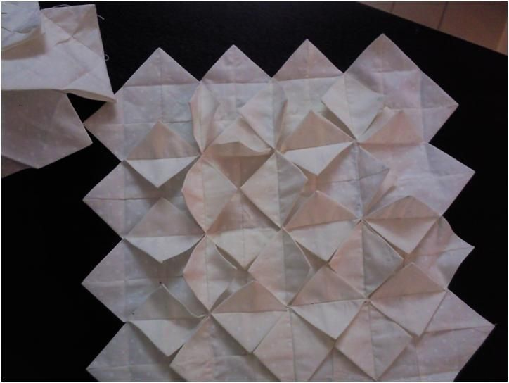 Cathedral Window Quilt, first stages step-by-step with lots of informative photos.