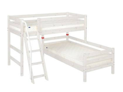 Corner bunk bed with slant ladder (not white) - for boys