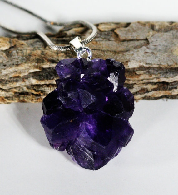 Dark Purple Amethyst I Made This Out Of A Piece Very Large Druzy Stalace Is Such Pretty Stone Etsy Pinterest