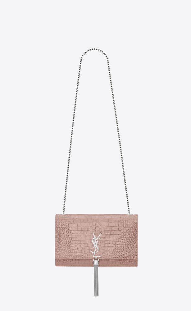 SAINT LAURENT MONOGRAM KATE WITH TASSEL Woman Medium KATE tassel chain bag  in powder pink crocodile embossed shiny leather a V4 dd3474833c38a