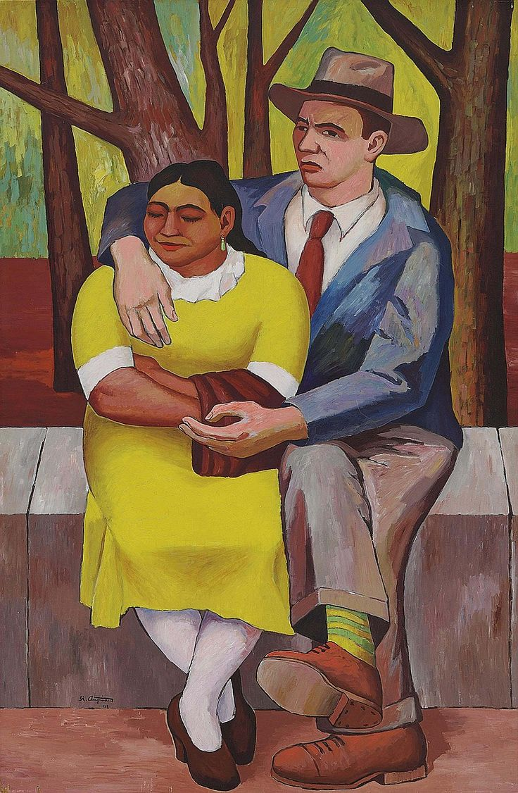 "untitled picture by José Raúl Anguiano Valadez (1915–2006), Mexican painter part of the ""second generation"" of Mexican muralists which continued the tradition of Diego Rivera and others. His work focused on indigenous and rural Mexico. His  mural work was inspired by the Mexican Revolution (invaluable - wiki)"
