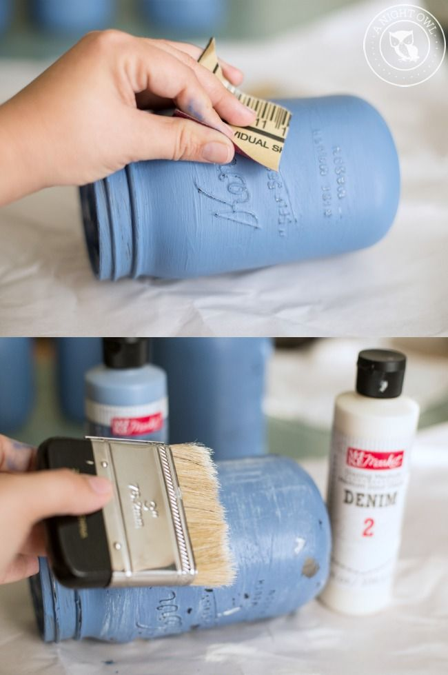 mason jars mason jar crafts bottle crafts denim wedding painted mason. Black Bedroom Furniture Sets. Home Design Ideas
