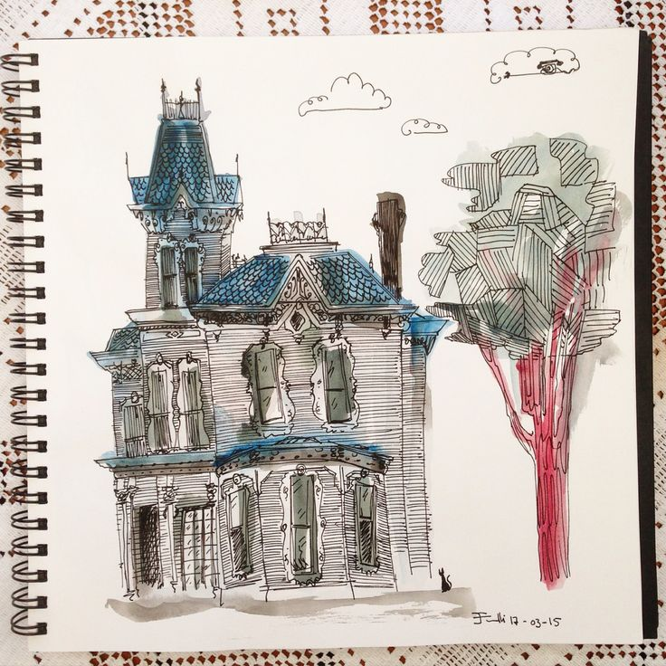 abandoned house, on watercolors drawing sketch