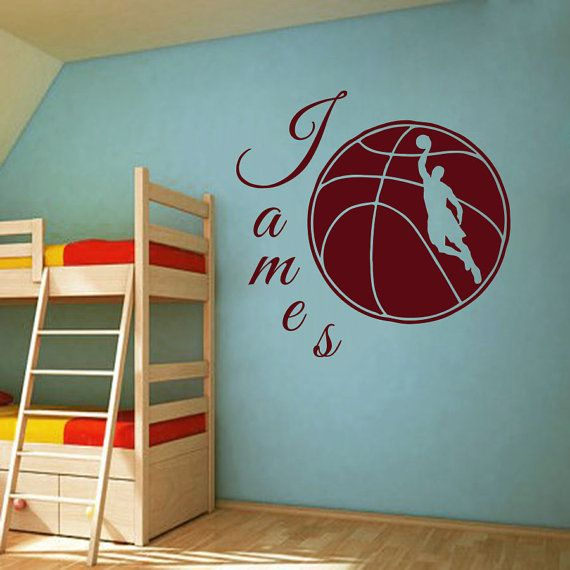 Muro decalcomanie Sport pallacanestro giocatore palla gioco Team Monogram Boy personalizzato nome bambino qualsiasi camera palestra Vinyl Decal Sticker Home Decor ML201