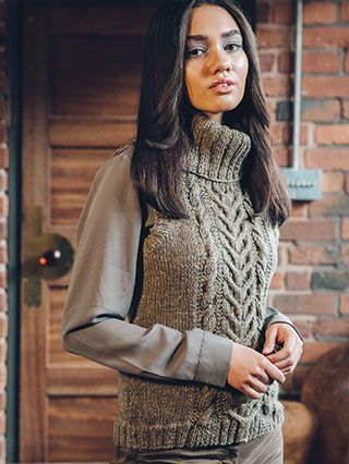 ANSONIA VEST from Rowan Loves 5... Hemp Tweed and Kid Classic (ZB210) - 9 designs for women with options using Hemp Tweed & Kid Classic. Designed by Amy Herzog.| English Yarns