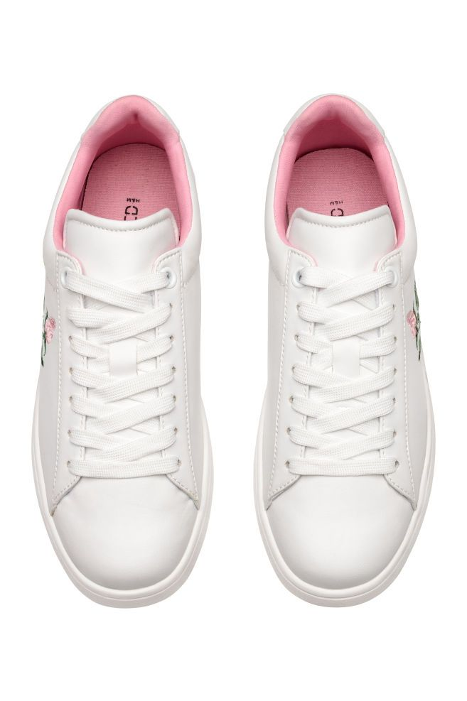 Trainers with embroidery - White/Rose - Ladies | H&M GB 2
